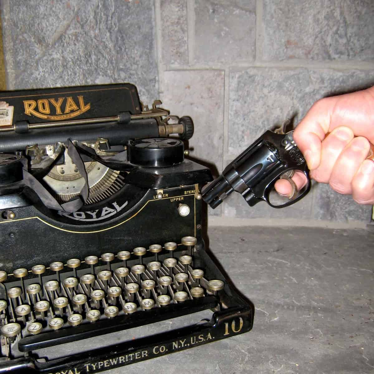 Typewriter and gun